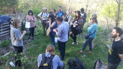 Ridge Walk: an abundance of herbs. Heather discussing nettle's nutritive properties. Packed with minerals, particularly useful for those with low iron levels. Also a natural anti-histamine, so great for hayfever: drink 3 cups per day.